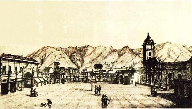 Un grabado de la plaza mayor hacia 1840